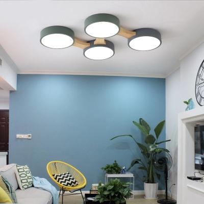 3/4/5/8 Lights Circle Flush-Mount Light Fixture Macaron Acrylic Living Room Flush Mount Lamp in Warm/White