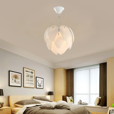 5 Lights Globe Chandelier Lighting with Frosted/White Glass Panel Nordic Pendant Lamp in White