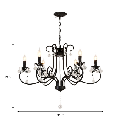 6/8 Lights Vintage Chandelier with Candle Metal and Crystal Pendant Light in Black for Clothes Store