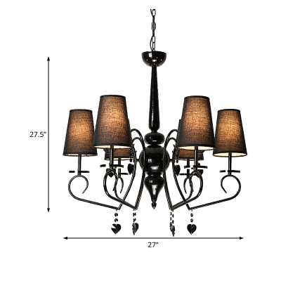 6/9 Lights Cone Hanging Ceiling Light with Crystal Heart Accents Traditional Fabric Chandelier in Black