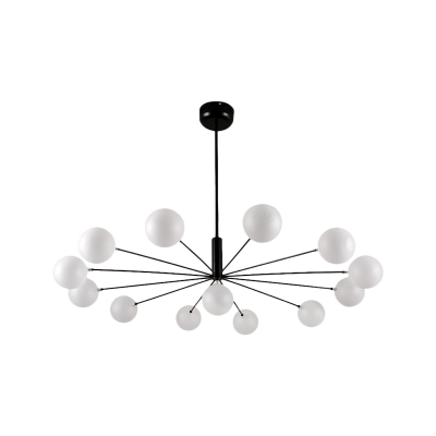 Black/Nickel Finish Sputnik Chandelier with Frosted Glass Shade 13/16 Heads Contemporary Hanging Light