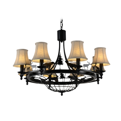 Fabric Shade Bell Chandelier Dining Room Industrial 4/8 Lights Matte Black Pendant Light with Bear