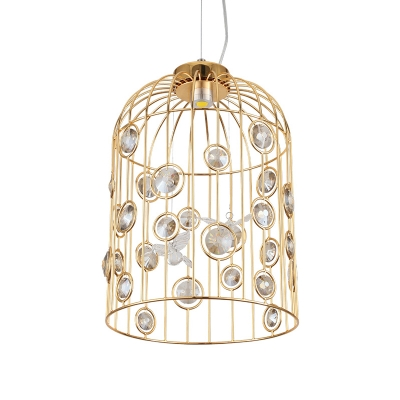 Led Birdcage Pendant Lamp Vintage Modern Metal Brass Hanging Light with Clear Crystal Accents