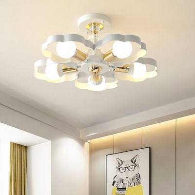 Living Room Heart/Petal Ceiling Lamp Metal 3/5 Lights Contemporary Ceiling Mount Light in White