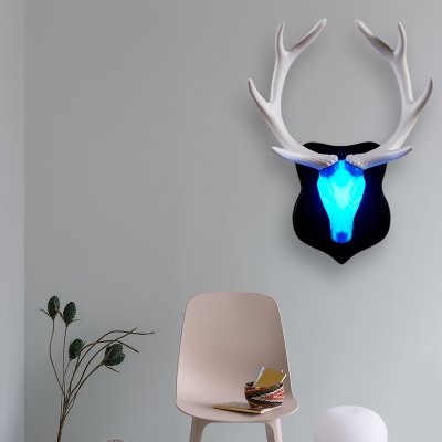 Loft Country Blue/White Deer Wall Mounted Lighting Plastic Integrated Led Wall Lamp with Black/White Antler