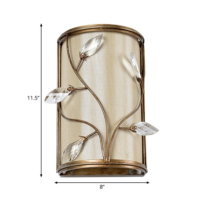 Metal Cylinder Wall Light with Leaf Crystal Bedroom Kitchen 1/3 Lights Modern Sconce Light in Brass and Beige