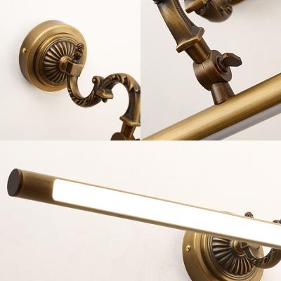 Mid Century Modern Swing Arm Vanity Lighting Metal Aged Brass Led Wall Sconce Light in Neutral Light, 18
