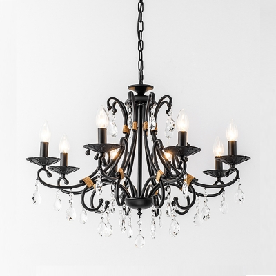 Traditional Multi Light Chandelier with Candle 3/6/8/10 Lights Dining Room Hanging Light in Black