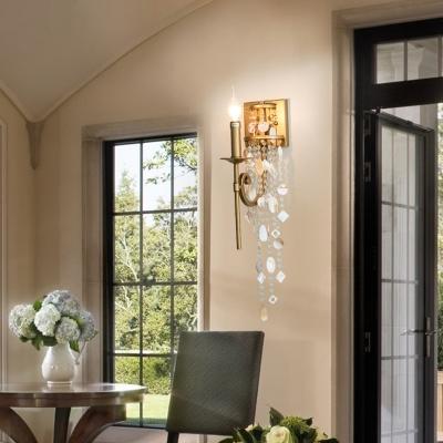 Traditional Torch Sconce Light with Clear Crystal 1 Light Shaded/Shadeless Wall Lighting in Brown/Gold
