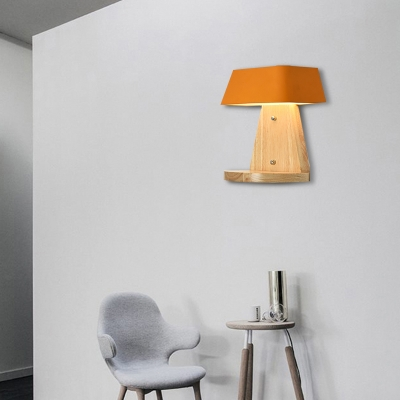 Trapezoid Wall Light Fixture with Wooden Backplate Modern Metal 1 Light Wall Sconce in White/Orange/Blue for Living Room