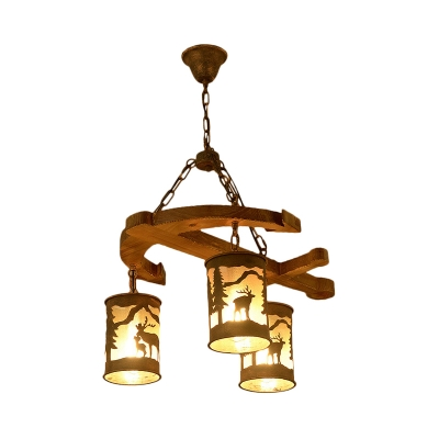 Triple Light Cylinder Pendant Lamp with Wooden Anchor Accents Loft Style Fabric Hanging Chandelier in Rust
