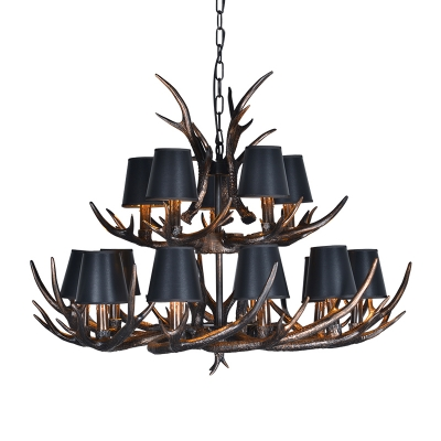 Vintage Antlers Suspension Light with Conic Shade Fabric 4/6/10/15 Lights Chandelier Light Fixture in Black