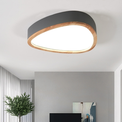 Warm/White Drop Ceiling Light Modern Acrylic and Iron Lighting Fixture with Wood in Grey/White/Green for Bedroom