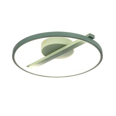 White/Blue/Green/Black Circle Ring Flush Mount Fixture Nordic Metal Flush Light in Warm/White, 12.5