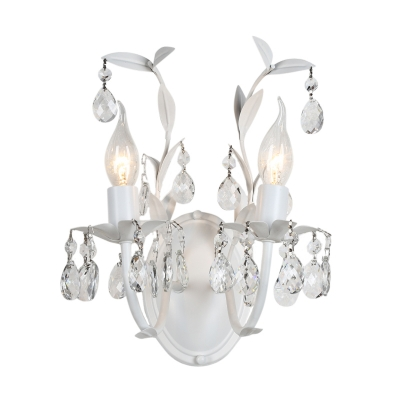 White Candle Wall Light with Teardrop Crystal and Leaf Decor 1/2 Lights Luxurious Metal Wall Sconce for Hotel