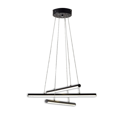 3-Led Tube Chandelier Lamp Minimalist Metal Black/Gold Ceiling Pendant Light with Acrylic Diffuser