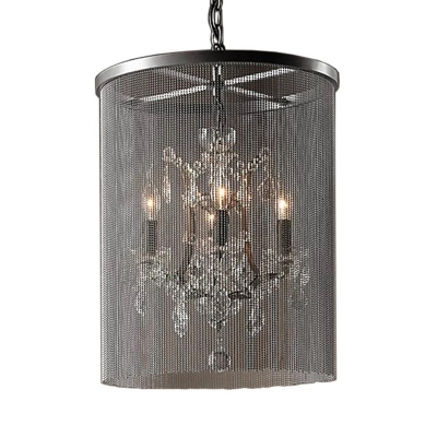 4 Lights Chain Chandelier Lighting with Crystal Country Style Metal Indoor Pendant Lighting in Black
