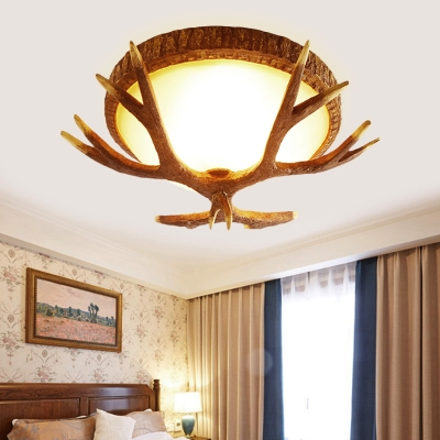 Antler Flush Lighting with Bowl White Glass 3 Lights Village Style Ceiling Light Fixture in Brown