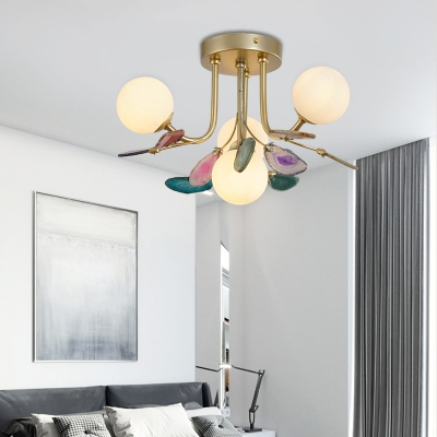 Bubble Semi Flush Lighting Mid Century Modern Frosted Glass 4/9/12 Lights Bedroom Lighting in Gold