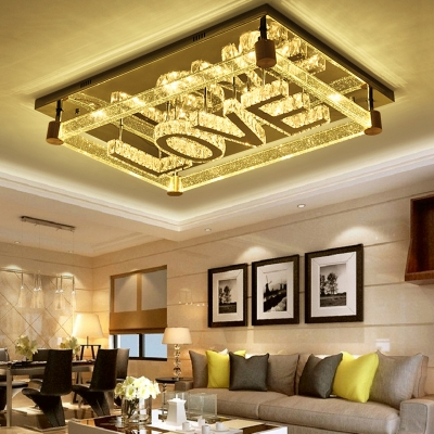 Clear Crystal Rectangle Ceiling Mount Light with Love Letter Living Room Luxurious Ceiling Lamp in Nickle HL563199 фото