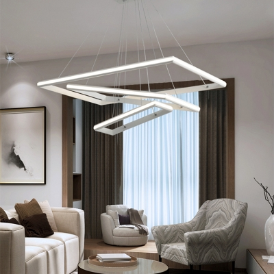 Contemporary Rectangle Hanging Lamp Metal Led White Pendant Lighting in White/Warm