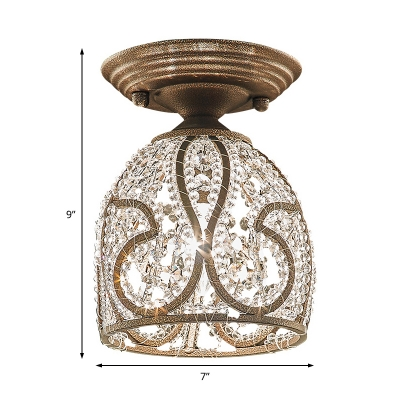 Crystal Domed Flush Mount Light Contemporary Iron 1 Light Ceiling