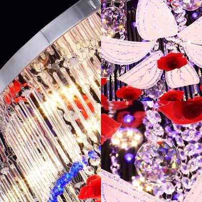 Crystal Flower Ceiling Light Modern LED Flush Ceiling Light in Blue and Red for Bedroom