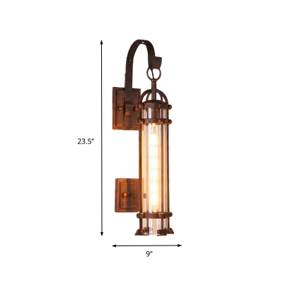 Dark Rust Cylinder Wire Cage Wall Lamp Retro Rustic Metal 1 Light Sconce Light Fixture for Porch