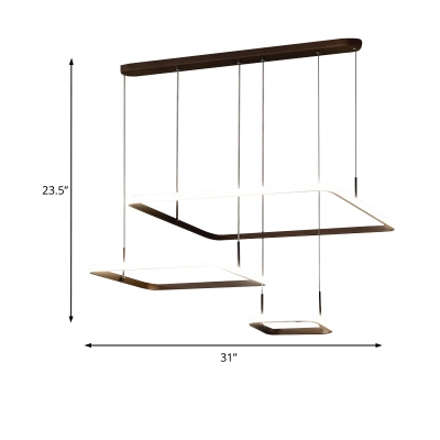 Geometric Pendant Lamp Modern Metal Integrated Led Tiered Hanging Ceiling Light in Coffee