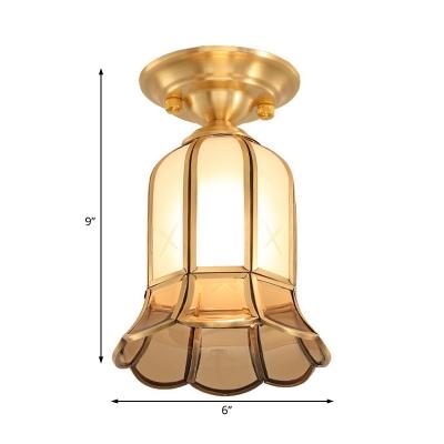 Gold Cylinder/Bell/Globe Flush Ceiling Lamp Retro Style 1 Light Glass Flushmount Lighting