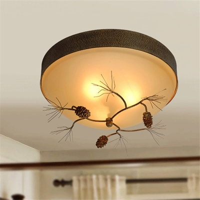 Loft Style Bowl Flush Mount Ceiling Light with Pinecone 3 Lights Opal Glass Flush Lighting in Brown for Bedroom