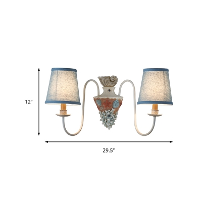 Loft Style Cone Wall Light Fixture 2 Light Distressed White Sconce Lighting with Blue Fabric Shade