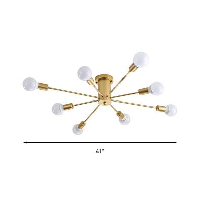 Mid Century Modern Sputnik Ceiling Light Metallic 6/8/10 Lights Gold Semi Flush Lighting