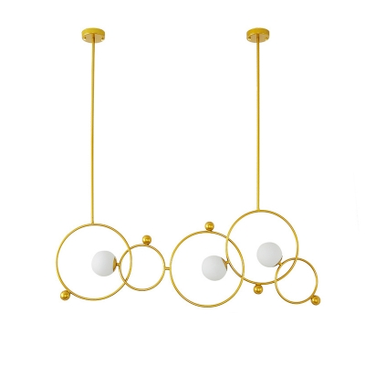 Multi Ring Hanging Pendant Light with Globe Frosted Glass Shade 3 Lights Dining Room Chandelier in Gold