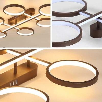 4/6 Ring Semi Flush Light Contemporary Metal Led Brown Semi Flush Mount Light