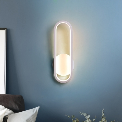 Oblong Wall Mounted Light Modern Simple Metal Led Wall Light Fixture in Black/White