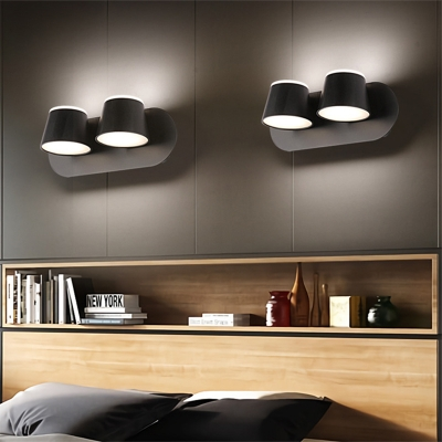 Rotatable Cone Wall Sconce Light Modern Metal Indoor Wall Lighting for Bedroom with White Lighting