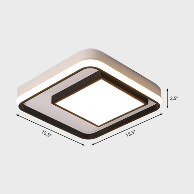 Square/Rectangle Frame Flush Ceiling Light Led Modern Flush Mount Ceiling Light in Black Finish, 16