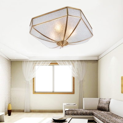 Traditional Geometric Flush Ceiling Lamp Dimple Glass 4 Lights Flushmount Lighting in Brass for Living Room