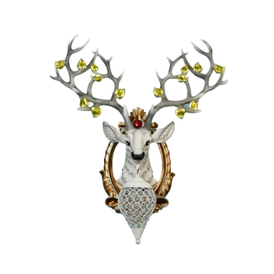 White/Brown Elk Wall Sconce Light Modern Style 1 Light Metal Wall Sconce with Crystal for Living Room, 19.5