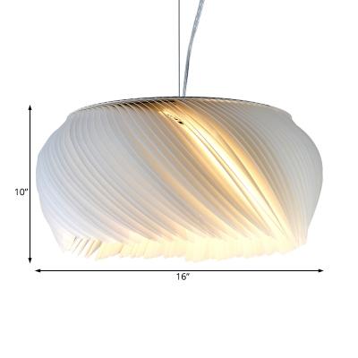 1 Light Donut Pendant Light Modern Acrylic Living Room Suspension Lamp in White