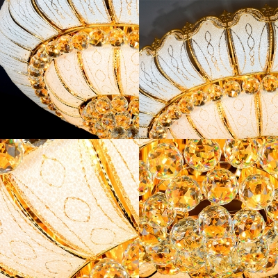 10/19 Lights Round Glass Flush Mount Light Modern Crystal Decorative Flush Ceiling Lamp in Gold, 18
