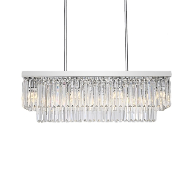 2 Tiers Linear Chandelier Lamp Clear Faceted Crystal 10/12 Lights 31.5