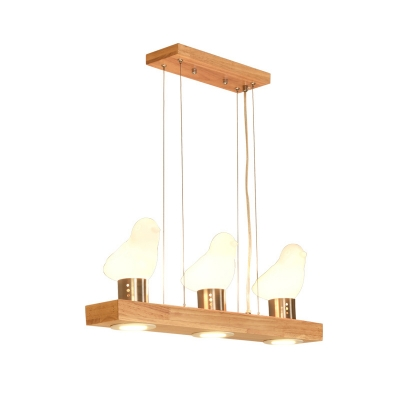 3/4 Birds Island Lighting Wood and White Glass Nordic Linear Chandelier Lamp for Kitchen