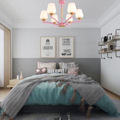 3/5/6/8-Head Cup Pendant Chandelier Modern White Glass Hanging Pendant Light in Grey/Green/Pink/White