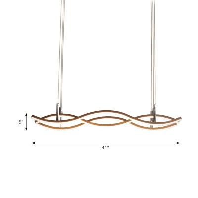 3 Lights Linear Chandelier Light with Wave Design Modernism Metal Ceiling Pendant in Brown