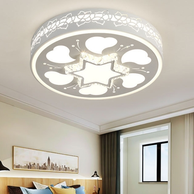 Acrylic Round Flush Ceiling Light with Star and Heart Modern LED Ceiling Fixture in Brown/White for Bedroom, HL563137