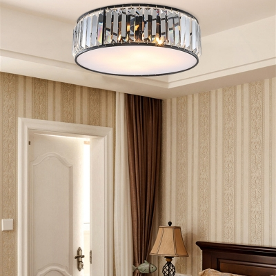 Black/Bronze Drum Flushmount Lamp with Tri-side Crystal Rods Industrial Foyer Flush Ceiling Light, 12.5