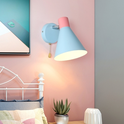 Cone Shade Sconce Light Nordic Metallic 1 Head Blue Wall Light for Bedroom, 6