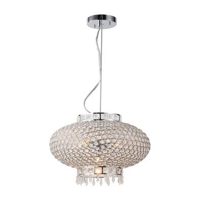 Crystal Bead Lantern Chandelier Lighting Contemporary 4 Lights Chrome Hanging Light for Foyer